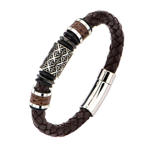 Fleur De Lis Brown Braided Leather Bracelet