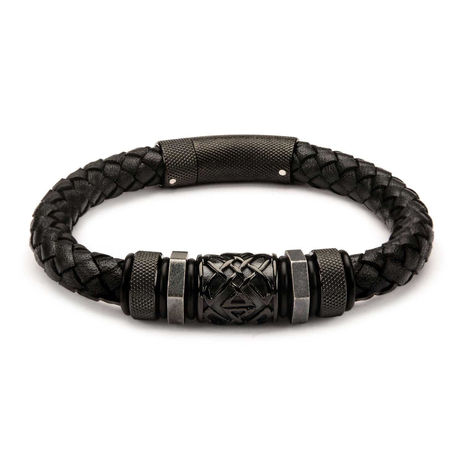 Black Braided Leather with Steel Black Plated Beads Bracelet