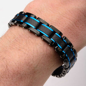 Stainless Steel Black Plated Blue Plated Carbon Fiber Link Bracelet