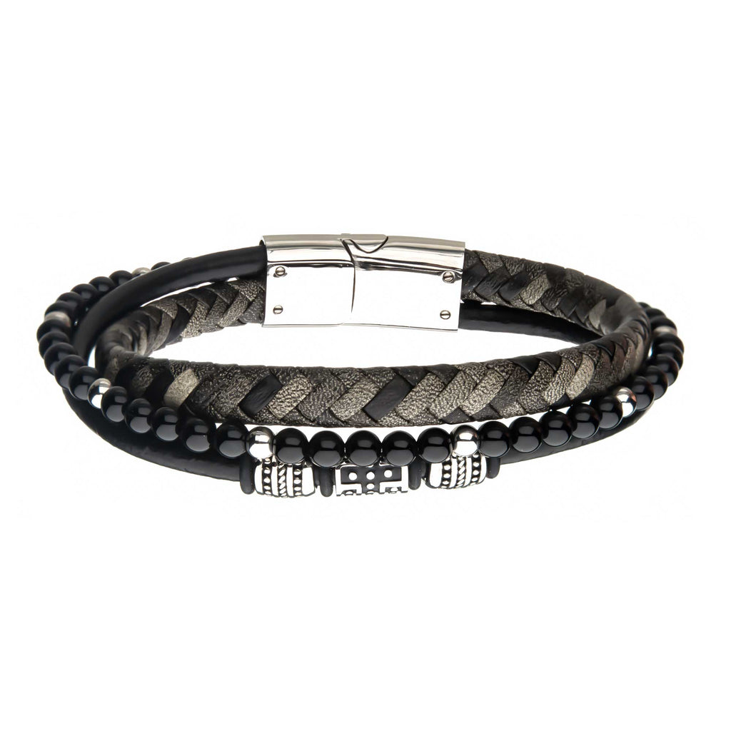 Black Onyx Beads with Black Braided Leather Layered Bracelet
