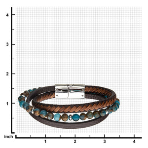 Chrysocolla Beads with Brown Leather Layered Bracelet