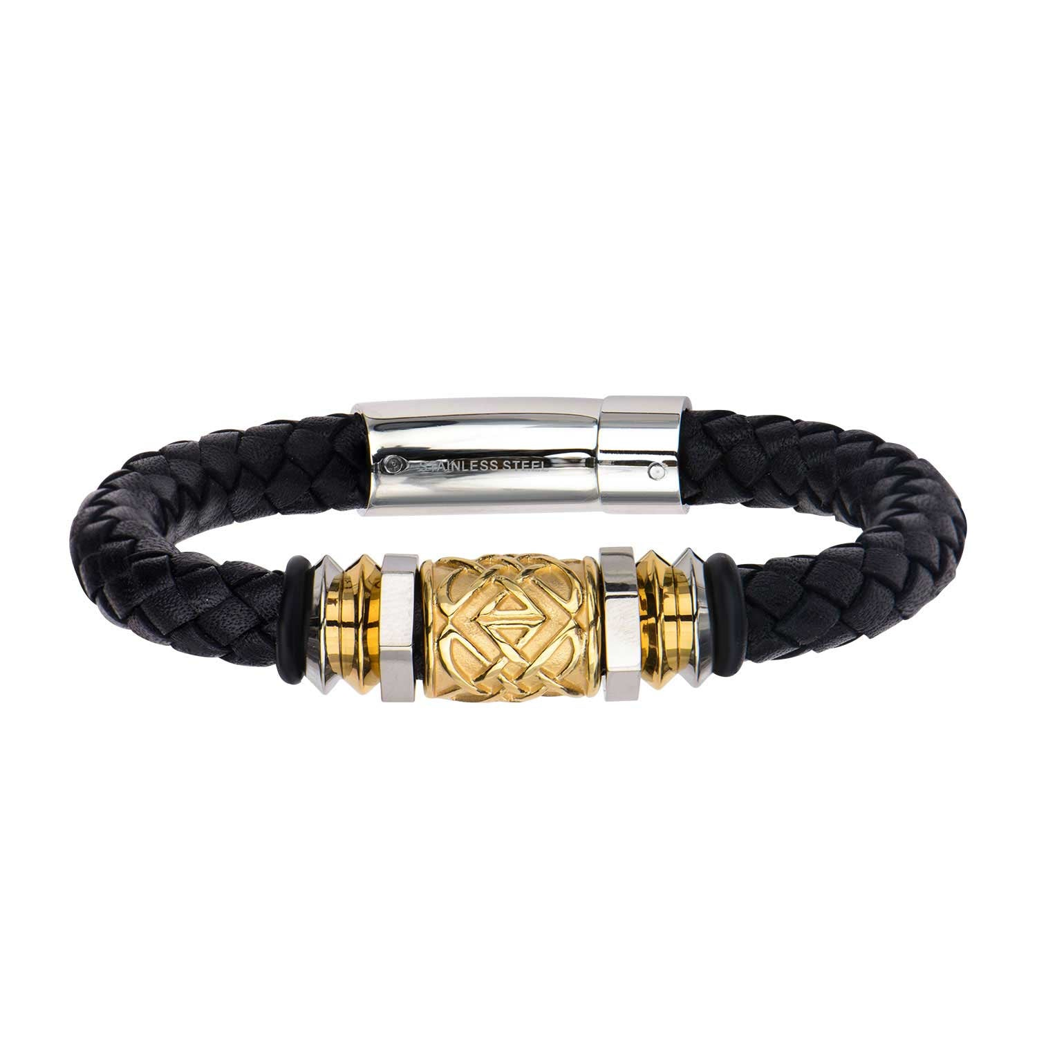 Steel and Gold Plated Bead in Black Braided Leather Bracelet