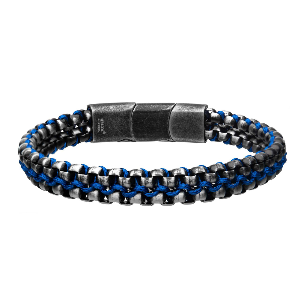 Stainless Steel with Wax Cord Chain Bracelet Blue