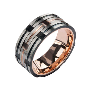 Black Track in Plated Rose Gold Ring