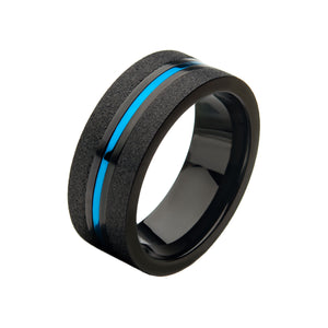 Steel with Blue Plated and Black Plated Ring