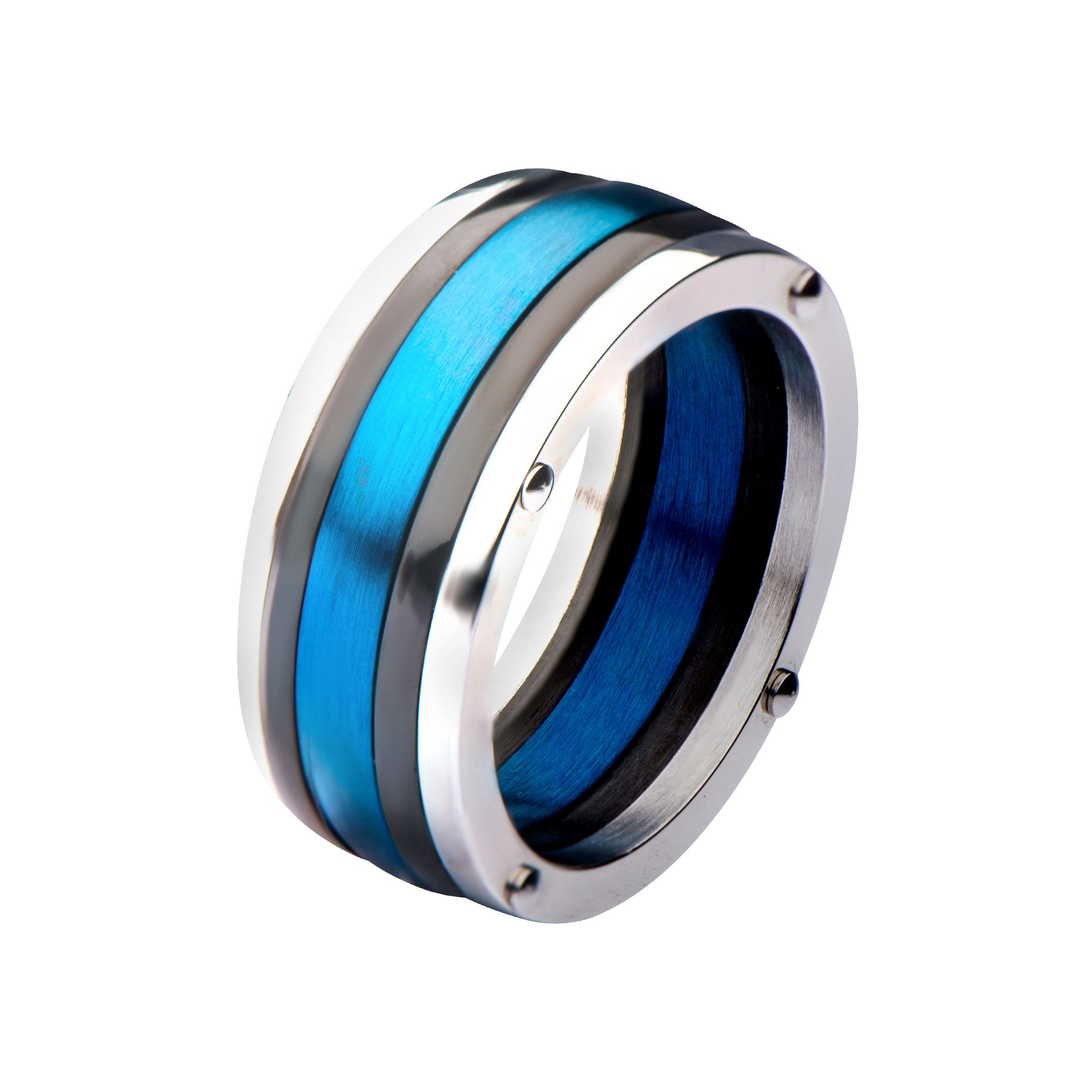 Steel, Black Plated & Blue Plated Polished Ring