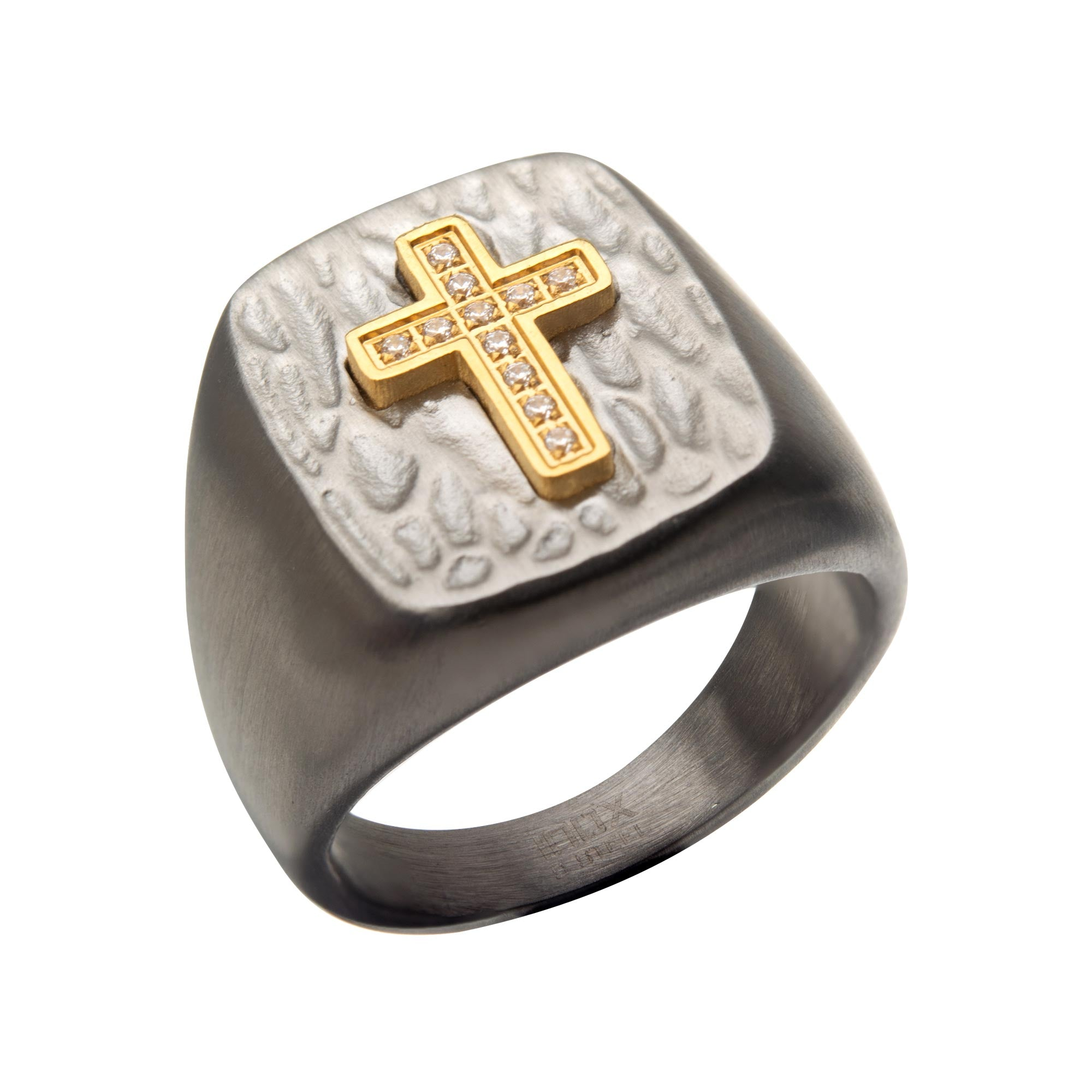 Gold Plated Cross with Clear CZs on Steel Hammered Signet Rings