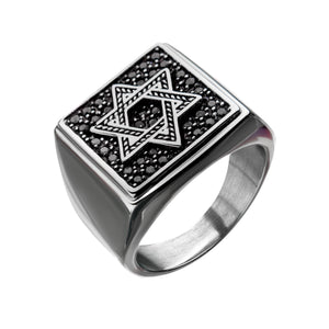 Stainless Steel with Black CZ Engraved Signet Ring