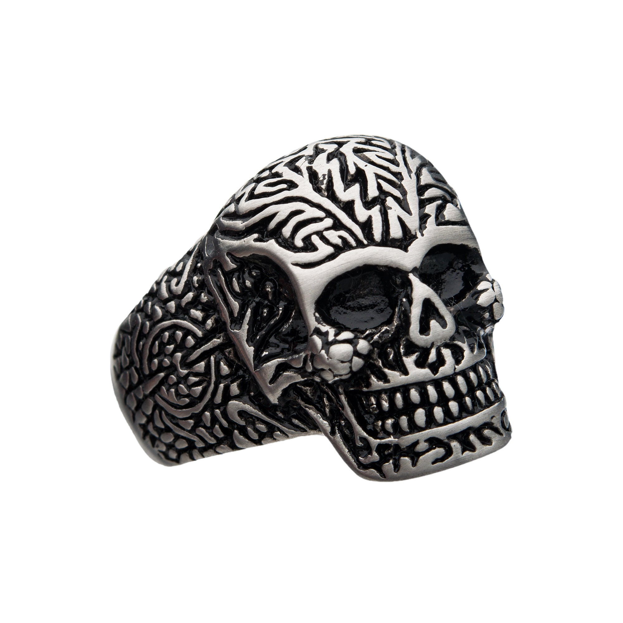 Steel Matte Finish Skull Ring