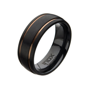 Black Zirconium with Rose Gold Plated Line Rings
