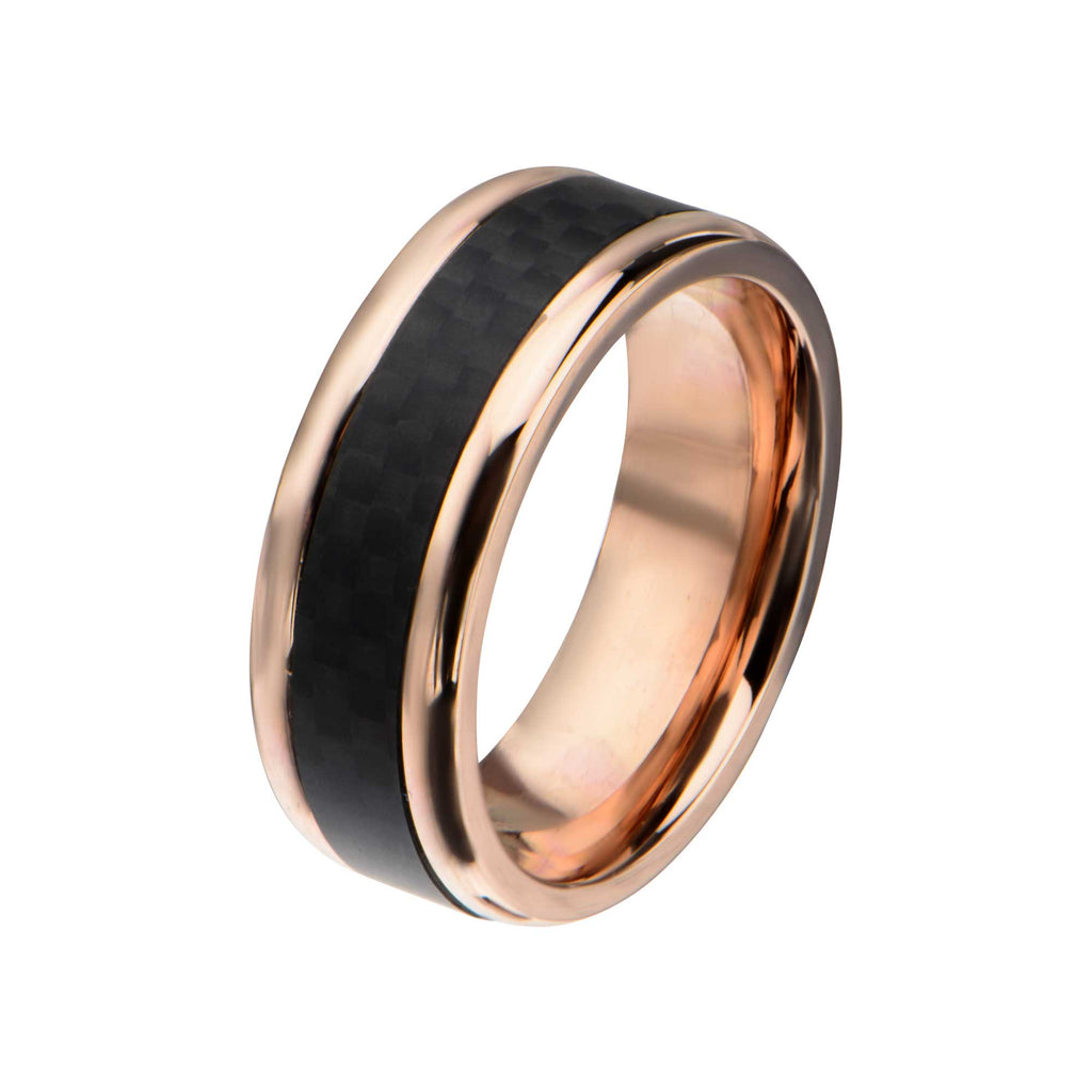 Rose Gold Plated with Center Solid Carbon Fiber Ring