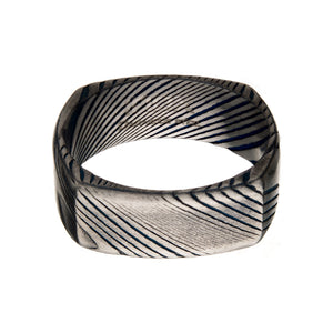 Damascus Matte Steel Square Ring