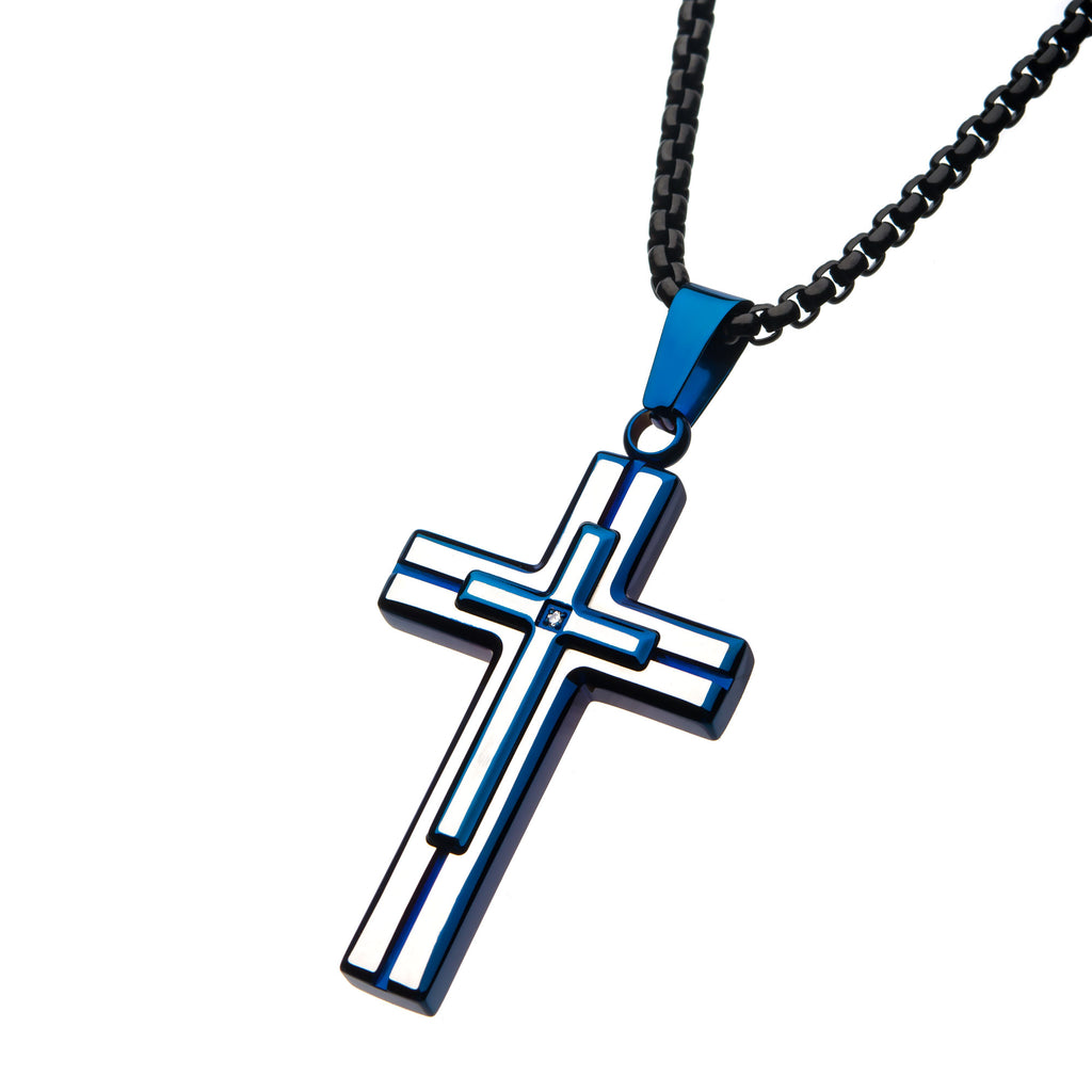 Steel Blue Plated with Clear Gem Cross Pendant with Black Bold Box Chain