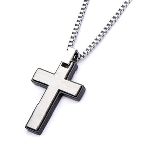 Black Plated and Stainless Steel Cross Pendant with Chain