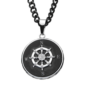 Stainless Steel Black Plated Ship's Wheel Compass Pendant with Chain