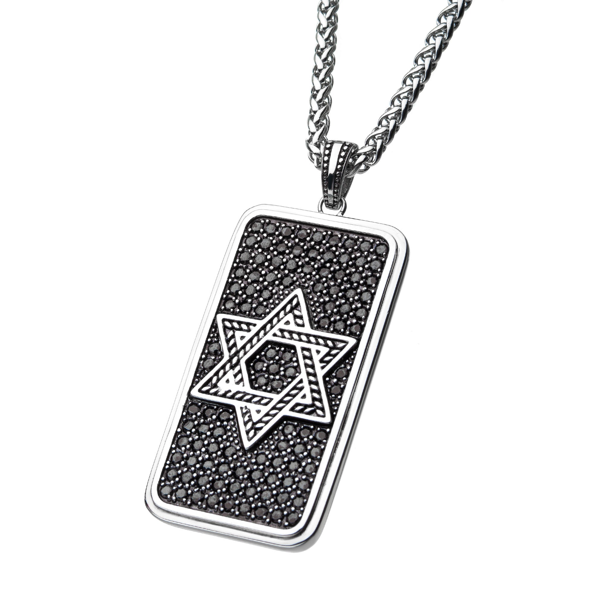 Stainless Steel with Black CZ Dog Tag Pendant with Wheat Chain