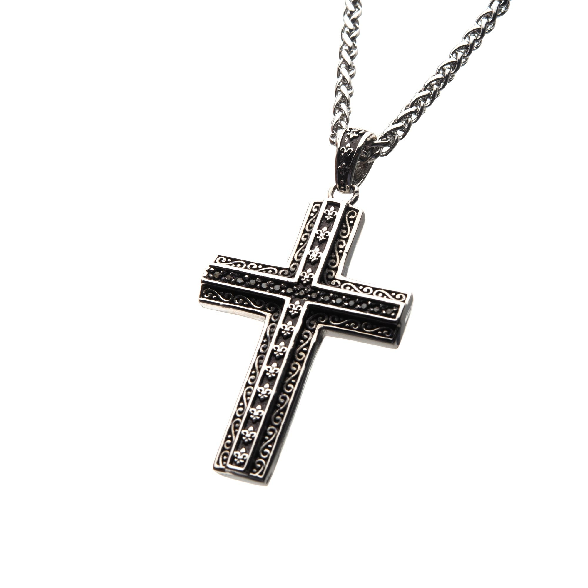 Black Oxidized Steel Cross with Black CZs Pendant with Steel Wheat Chain