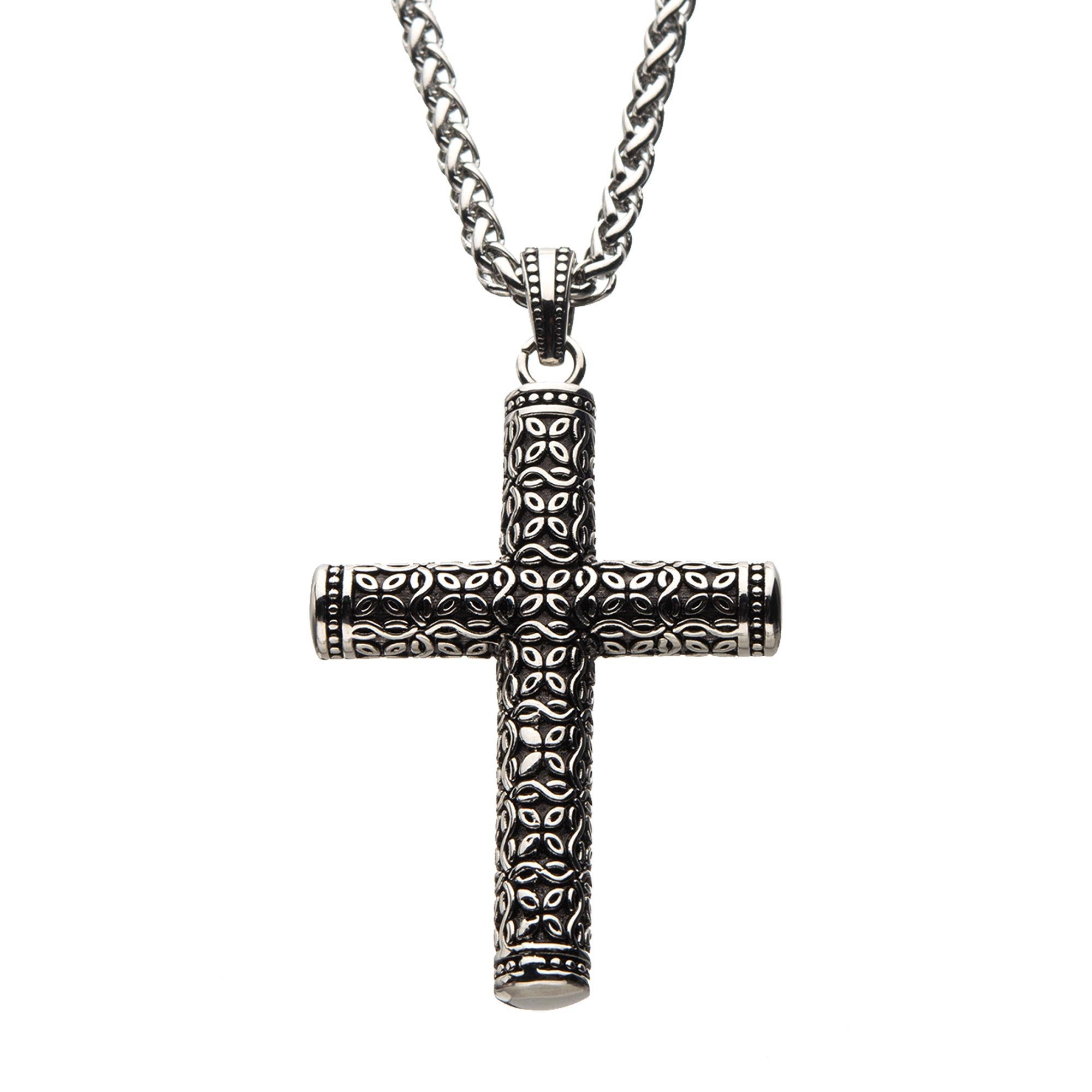 Black Oxidized Steel Rounded Cross Pendant with Steel Wheat Chain