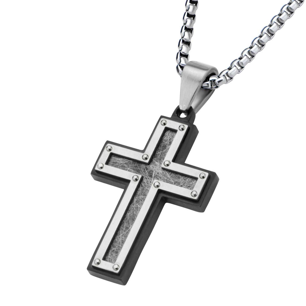 Textured Black Plated Cross Pendant with Chain