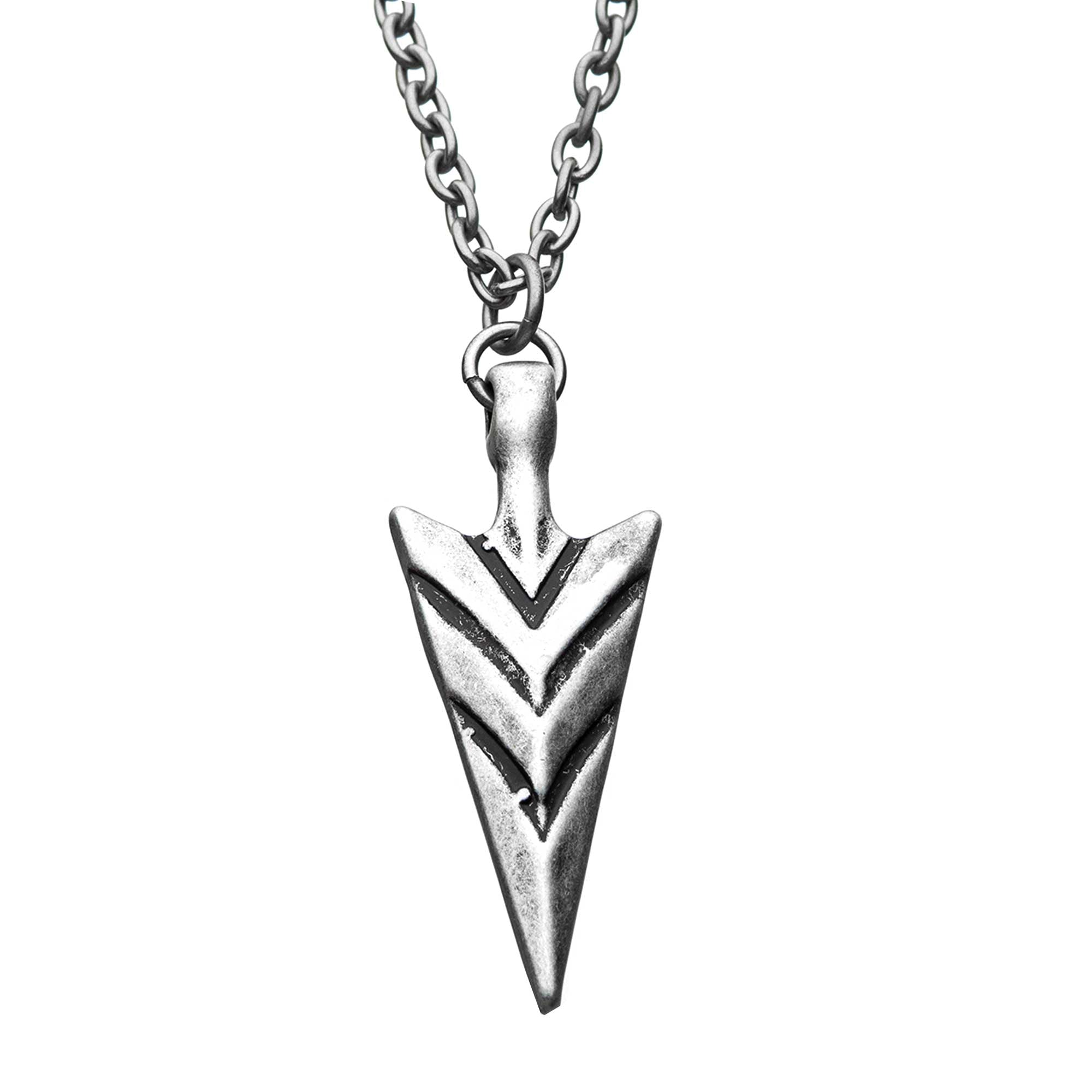 Stainless Steel and Antiqued Finish Arrowhead Pendant with Chain