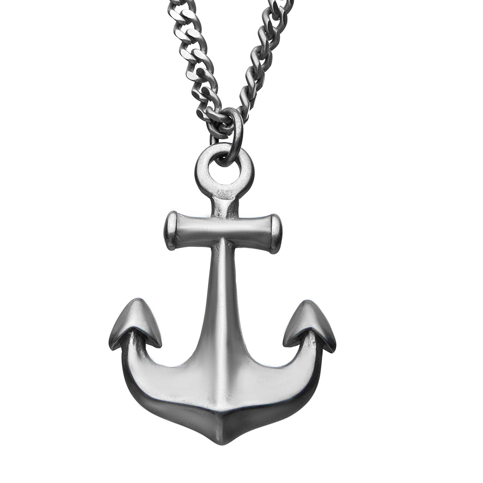 Stainless Steel Antiqued Finish Nautical Anchor Pendant