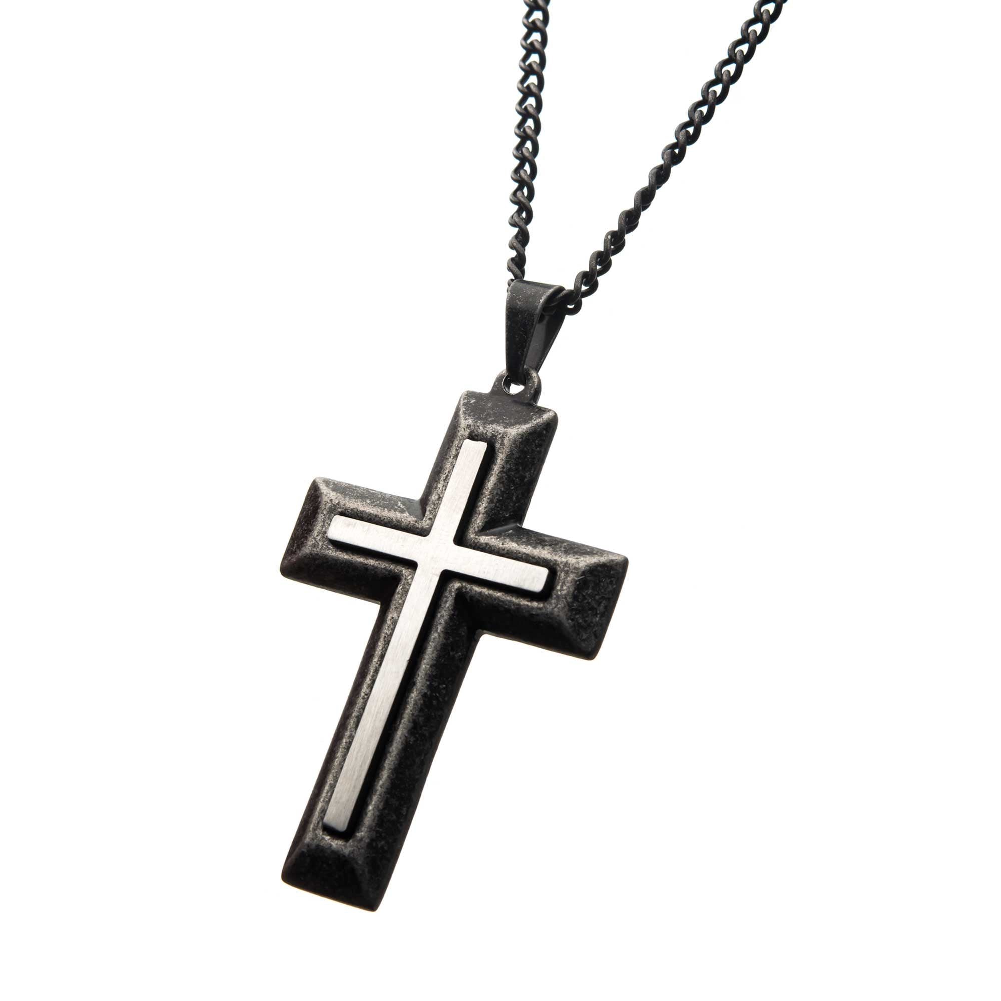 Antique Double-Layer Two Tone Cross Pendant with Chain