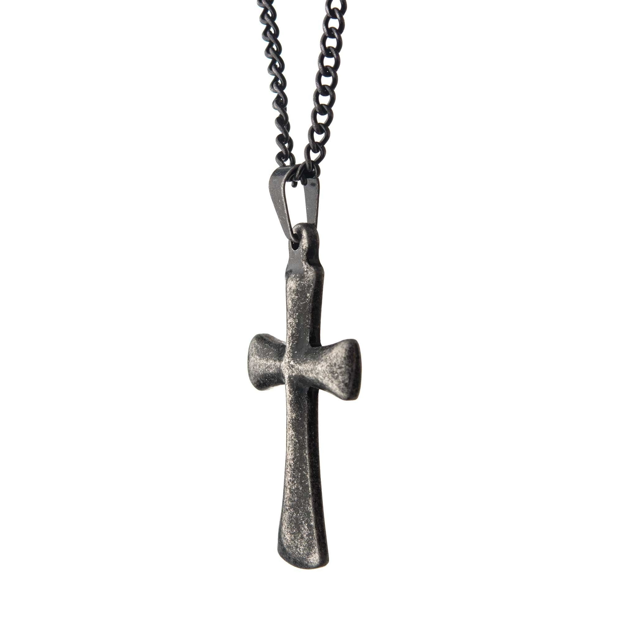 Stainless Steel Antique Cross Pendant with Curb Chain