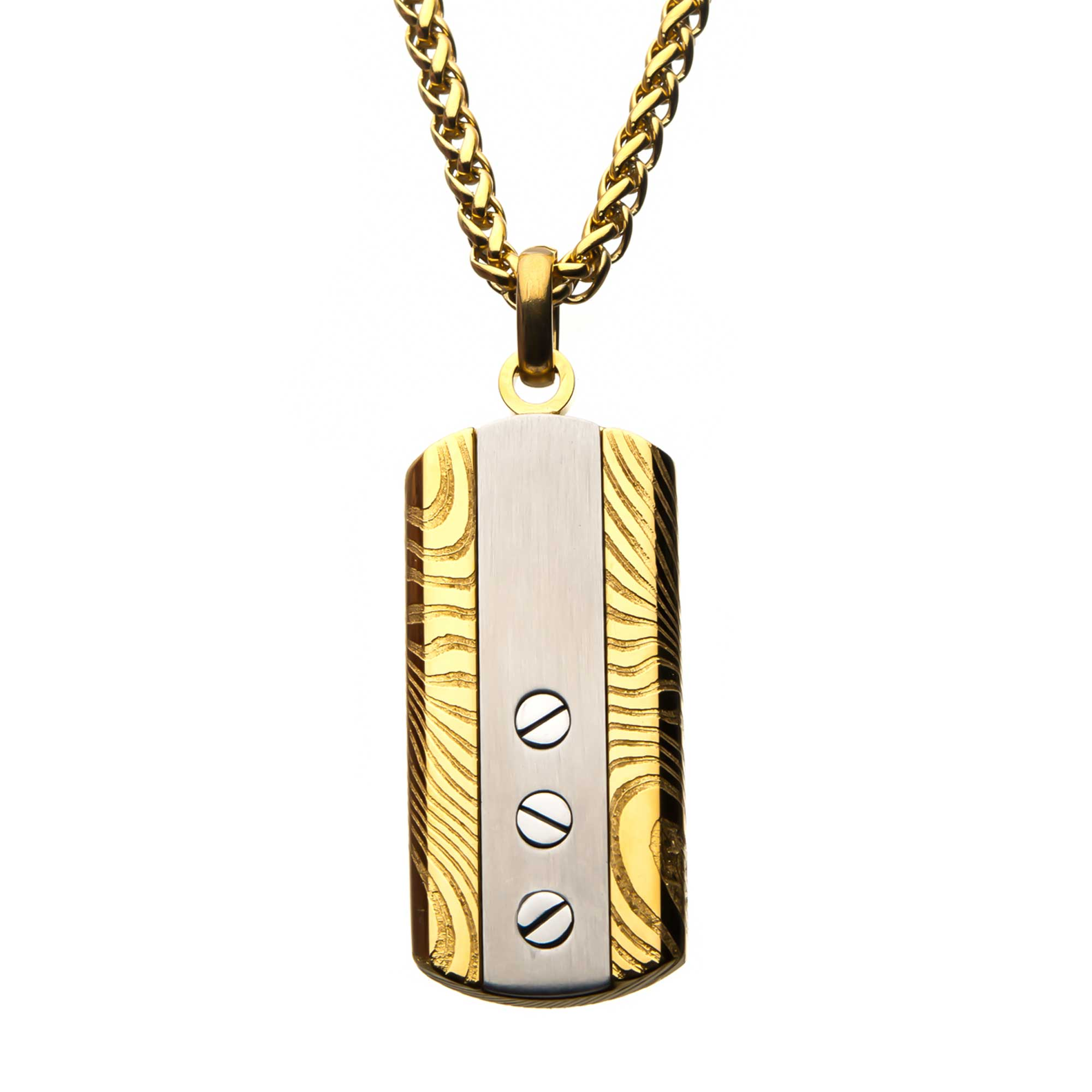 Stainless Steel & Gold Plated Screw Damascus Dog Tag Pendant with Chain