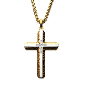 Stainless Steel & Gold Plated Damascus Cross Pendant with Chain