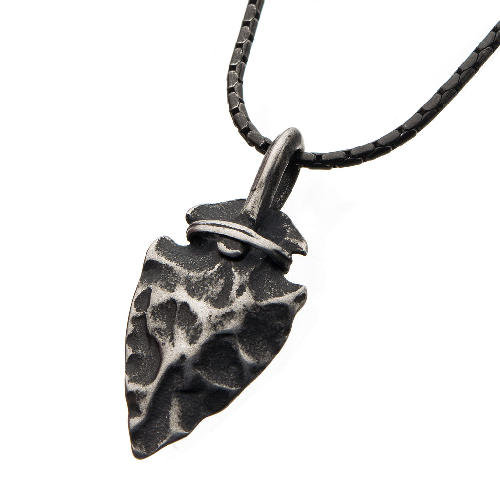 Gun Metal with Antiqued Finish Hammered Arrowhead Pendant with Chain
