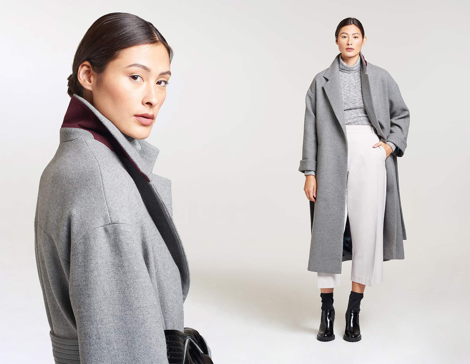 Palones PU Belted Grey Coat