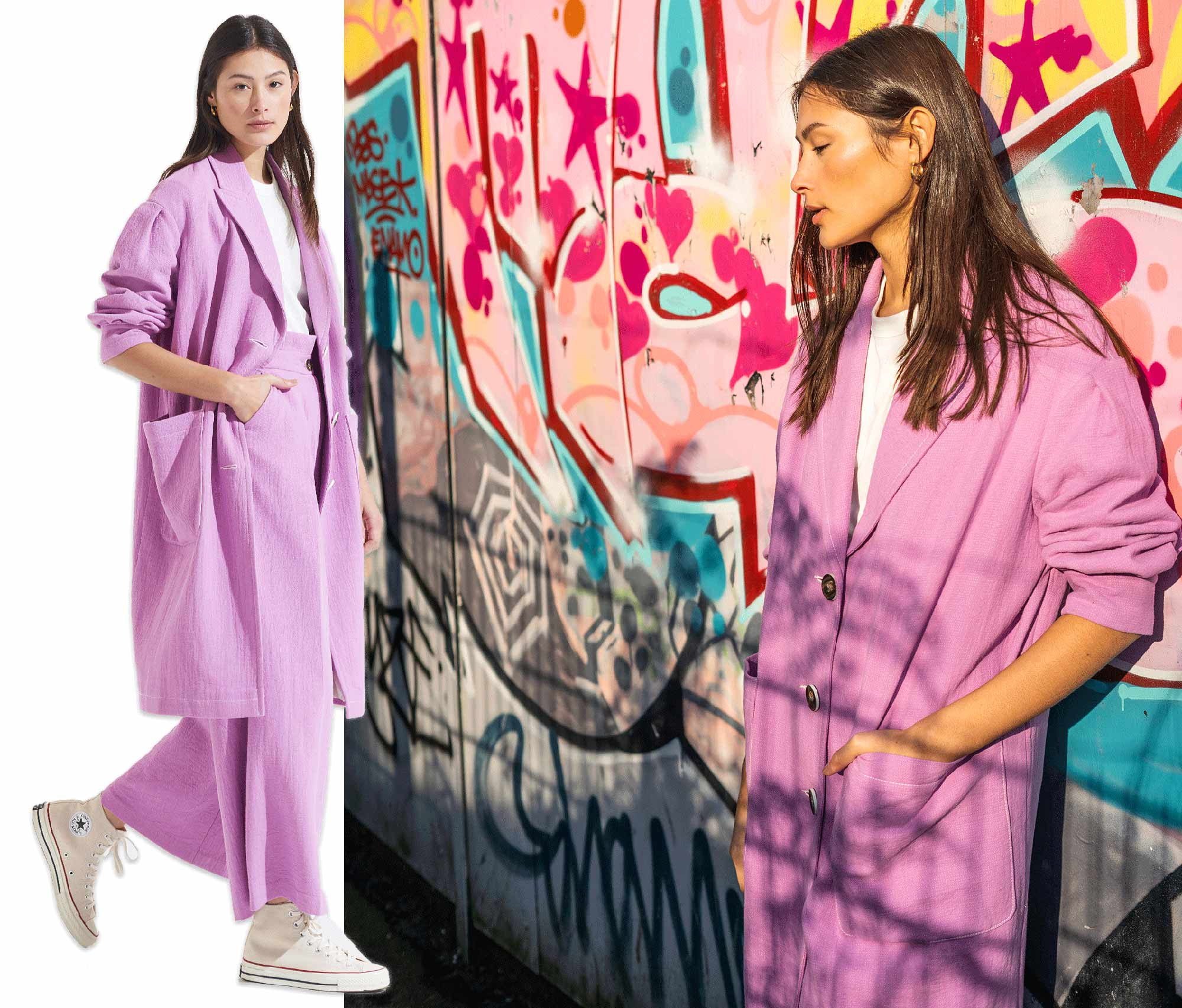 Palones Lilac pleat Sleeve Duster and Wide Leg trousers