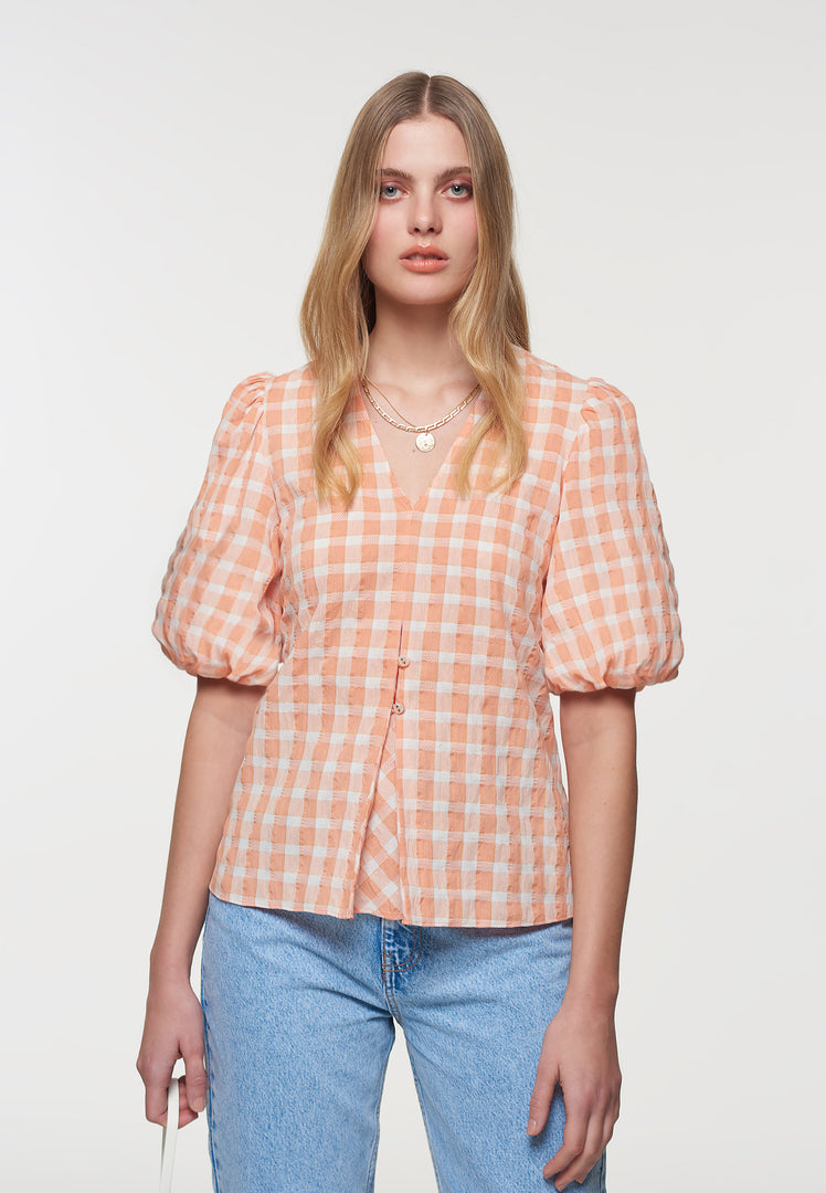 Apricot Gingham Smock Top