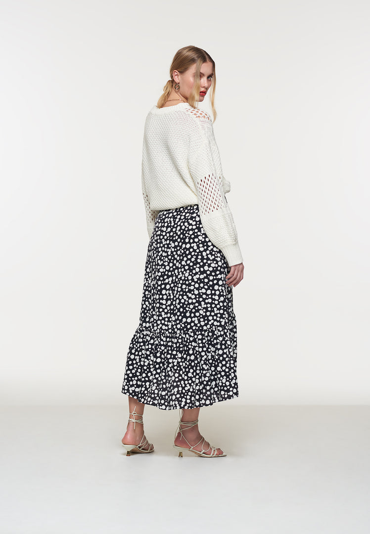 High Low Spot Wrap Skirt