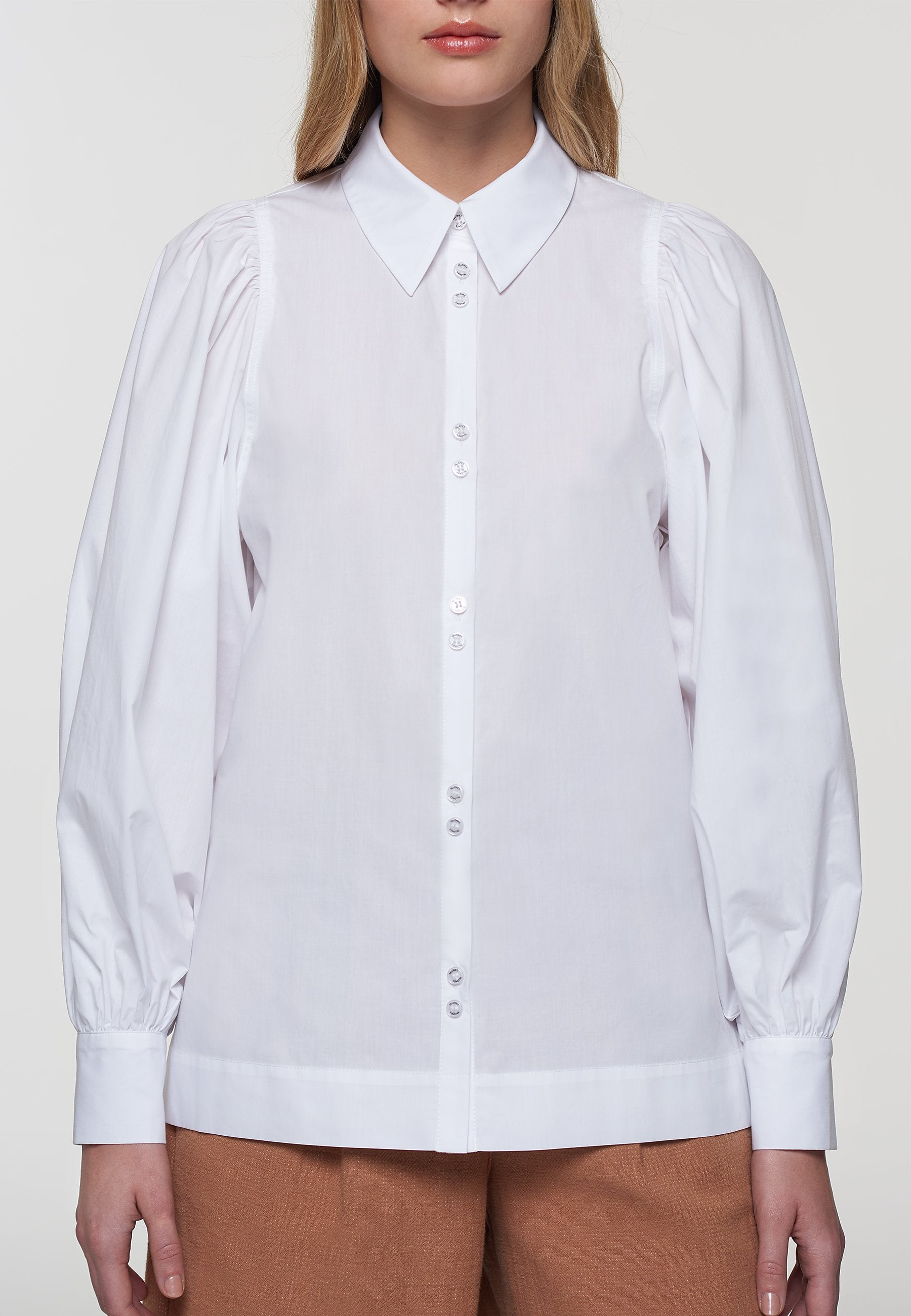 Load image into Gallery viewer, Palones White Poplin Puff Sleeve Shirt