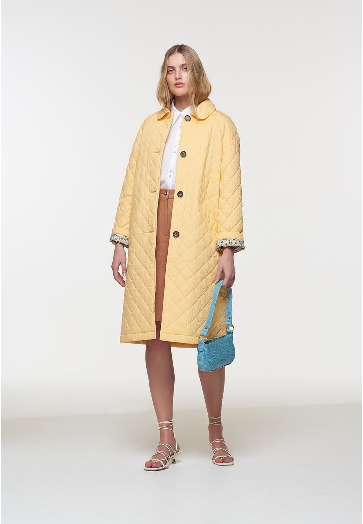 Palones Yellow Long Quilted Car Coat