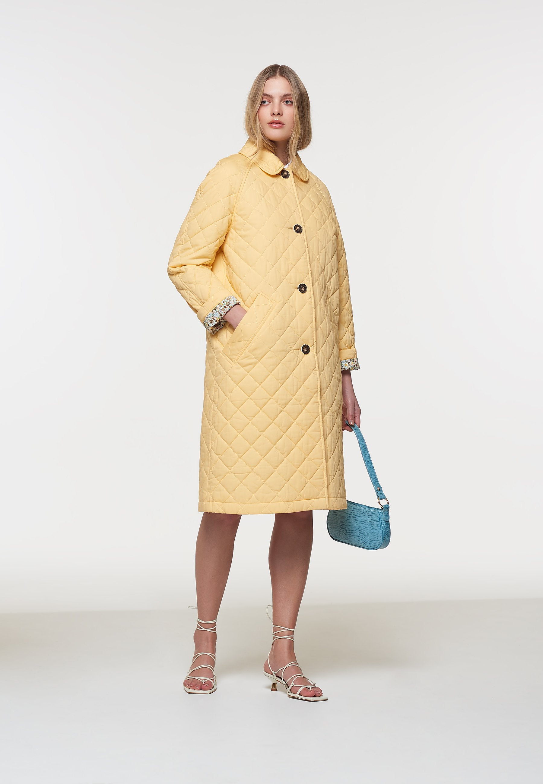 Load image into Gallery viewer, Palones Yellow Long Quilted Car Coat