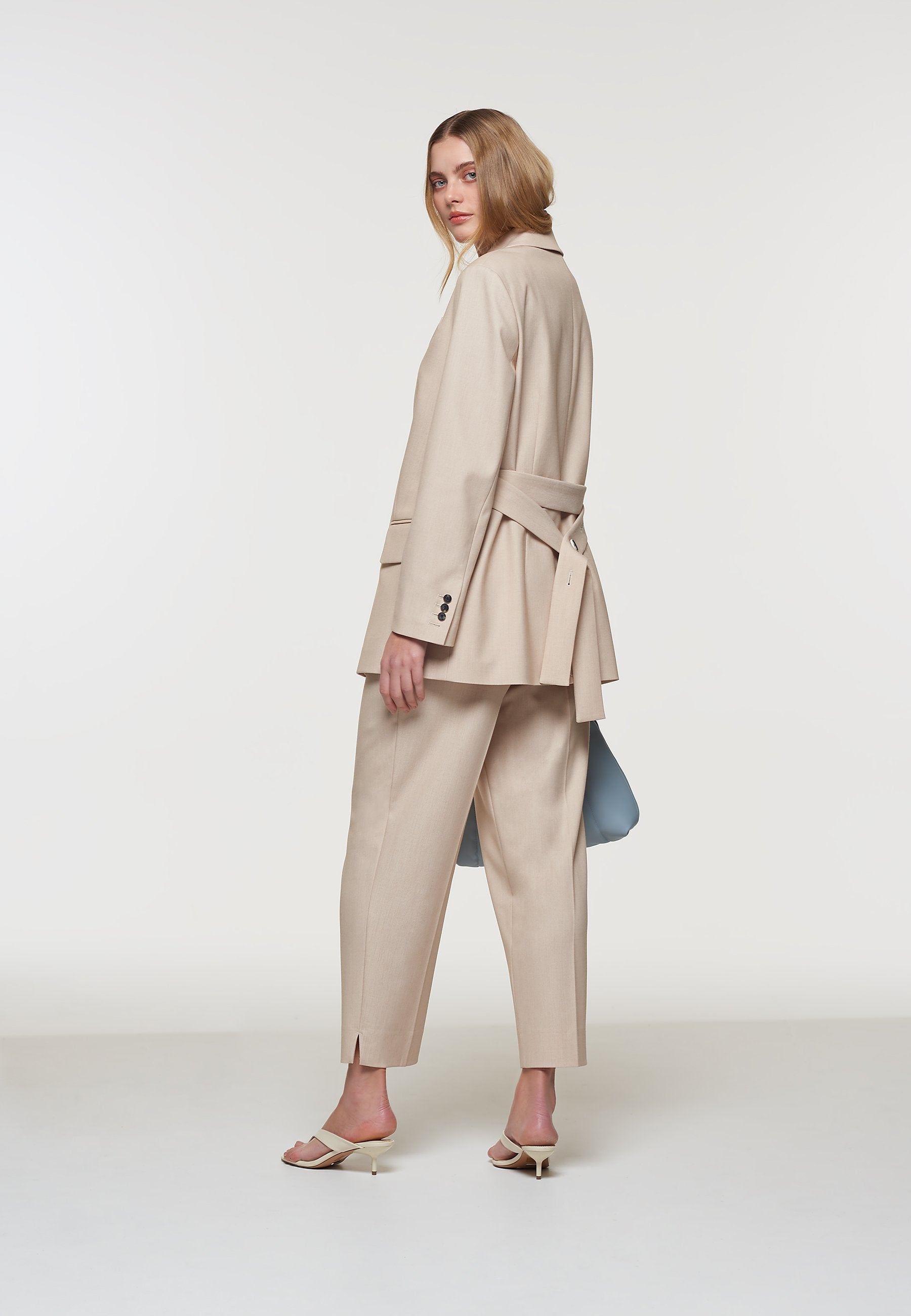 Load image into Gallery viewer, Palones Beige Belted Boyfriend Blazer