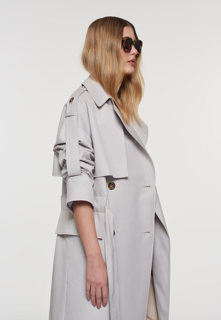 Palones Grey Oversized Tab Sleeve Trench