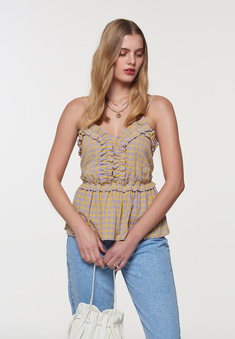 Palones Yellow and Lilac Check Ruffle Cami