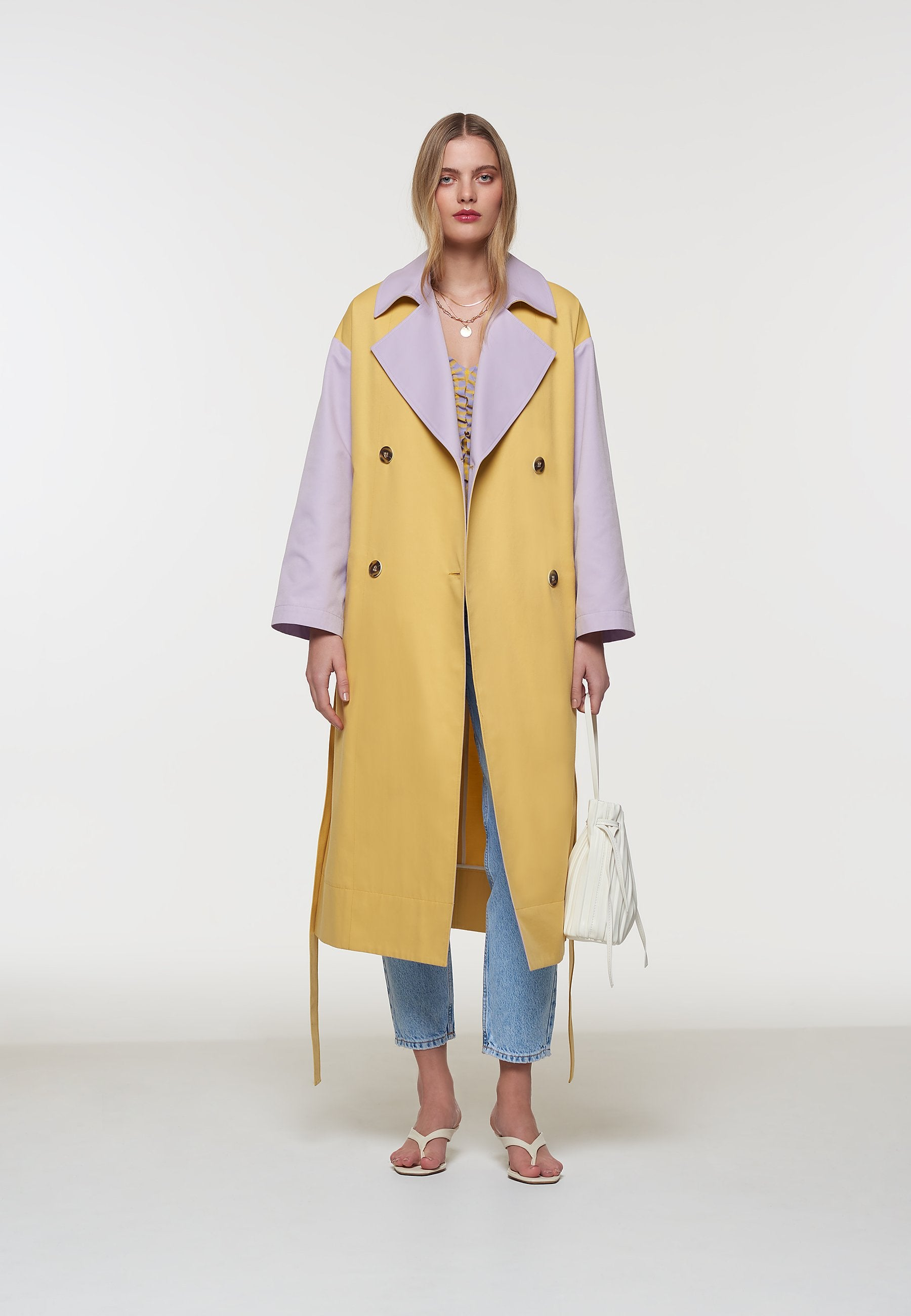 Palones Yellow and Lilac Pastel Colour Block Trench