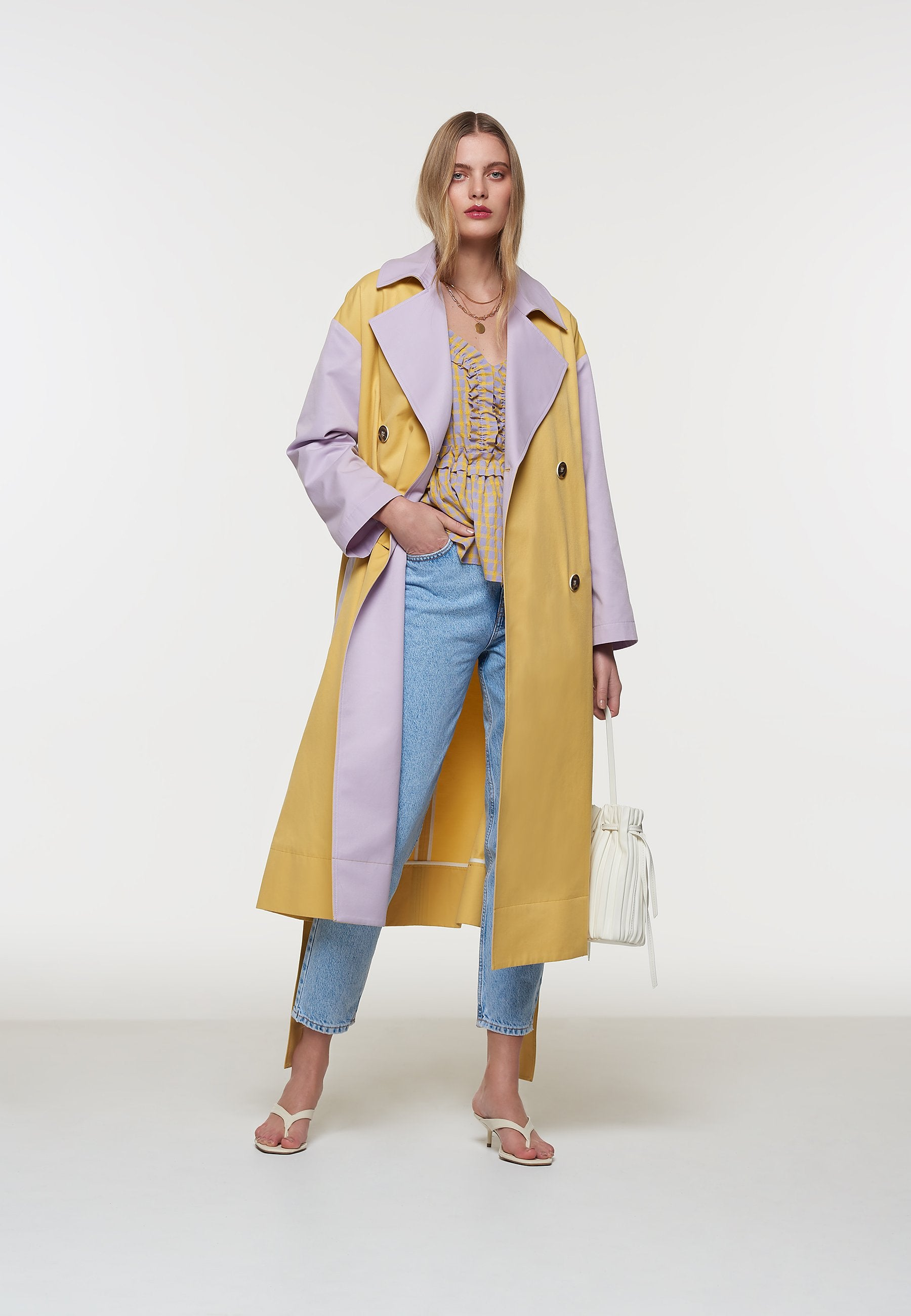 Load image into Gallery viewer, Palones Yellow and Lilac Pastel Colour Block Trench