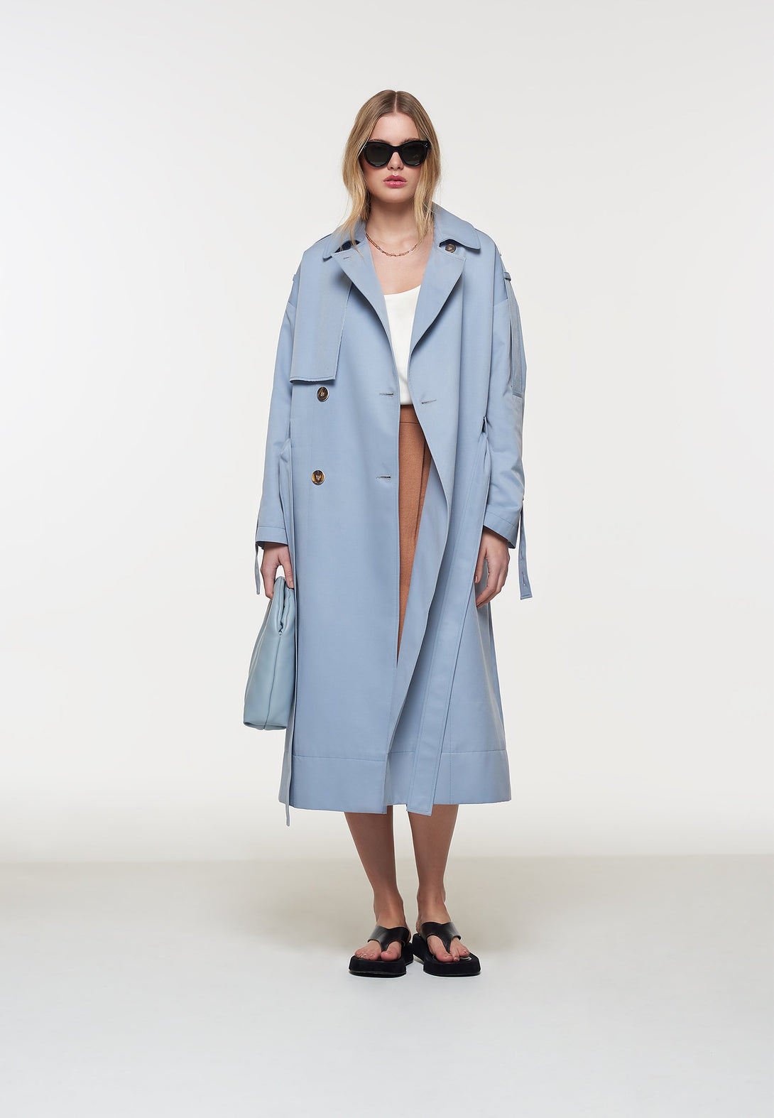 Palones Blue Oversized Tab Sleeve Trench