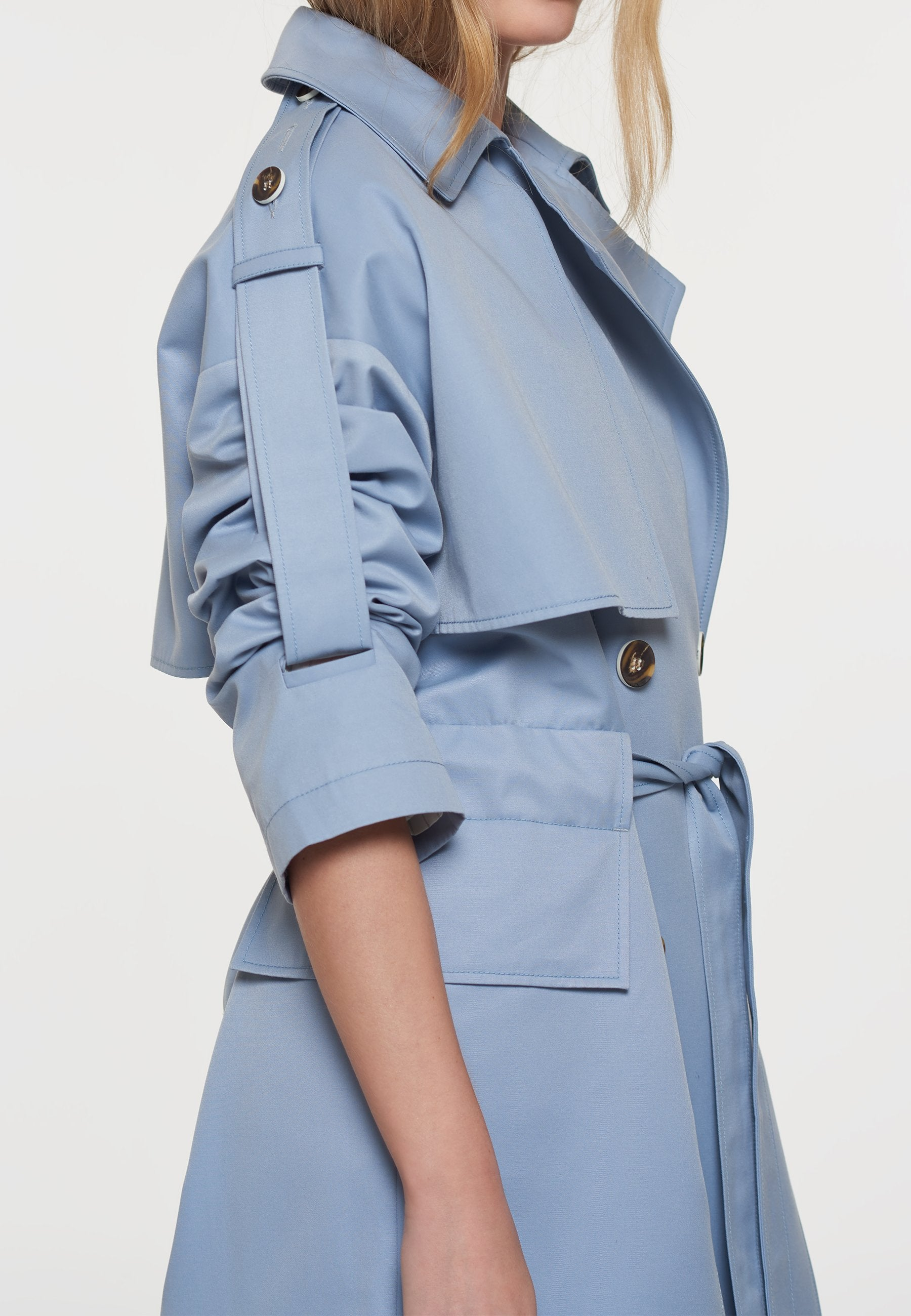 Load image into Gallery viewer, Palones Blue Oversized Tab Sleeve Trench