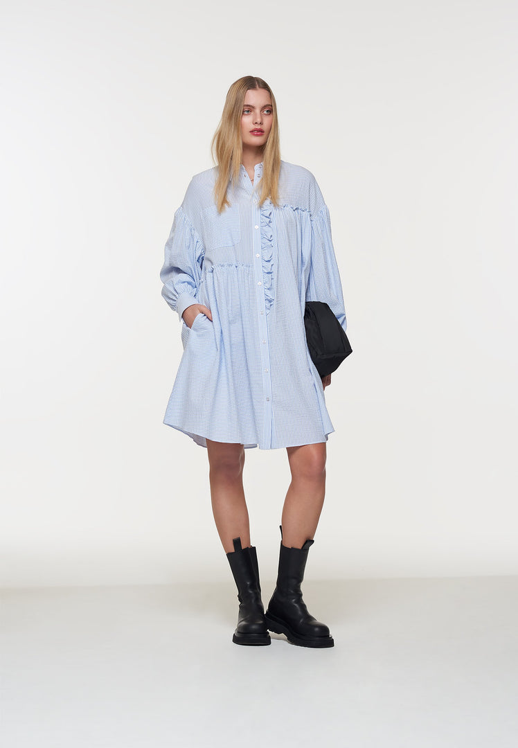 Palones Blue Stripe Ruffle Seersucker Shirt Dress