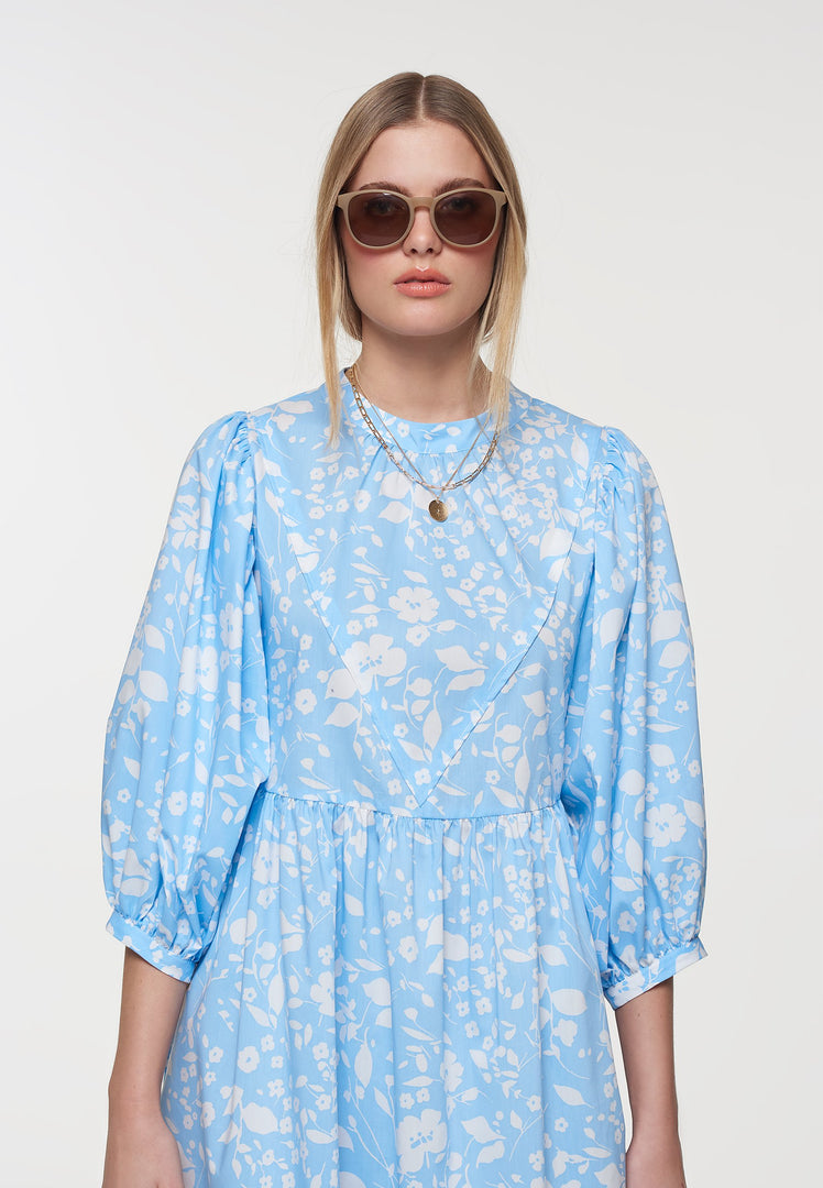 Palones Blue Floral Poplin Puff Sleeve Dress