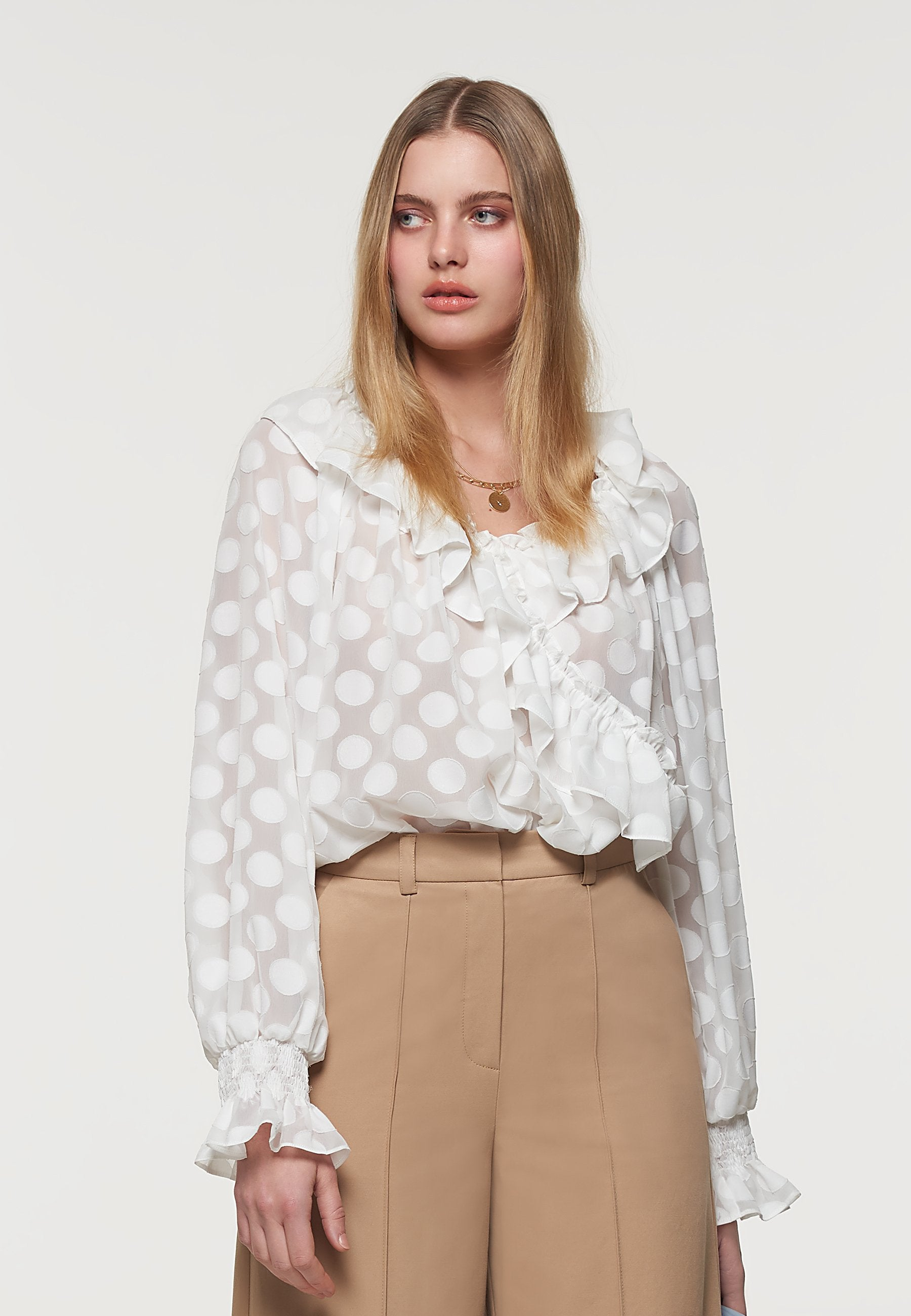 Load image into Gallery viewer, Palones White Satin Spot Ruffle Neck Blouse