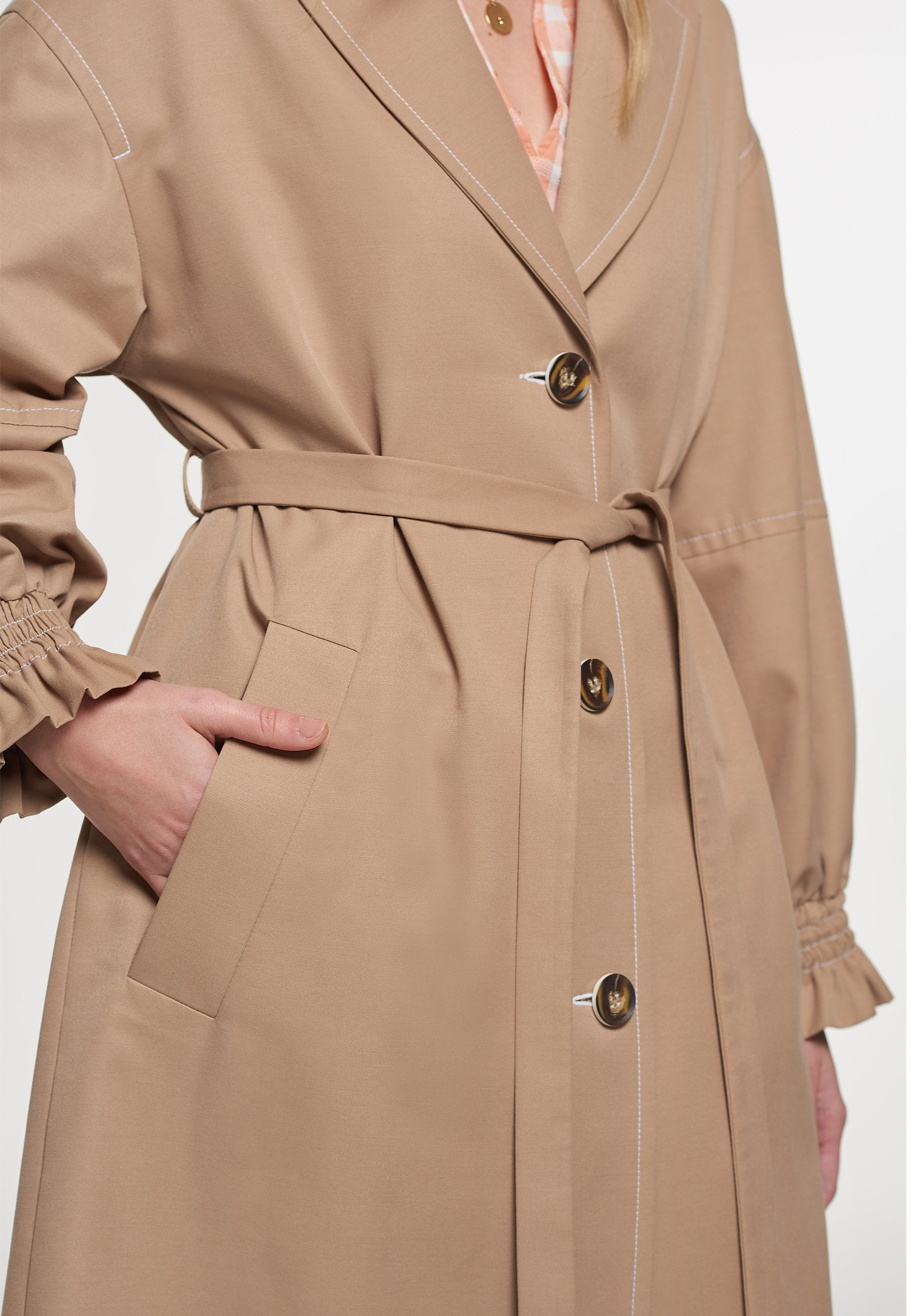 Load image into Gallery viewer, Palones Stone Frill Cuff Trench