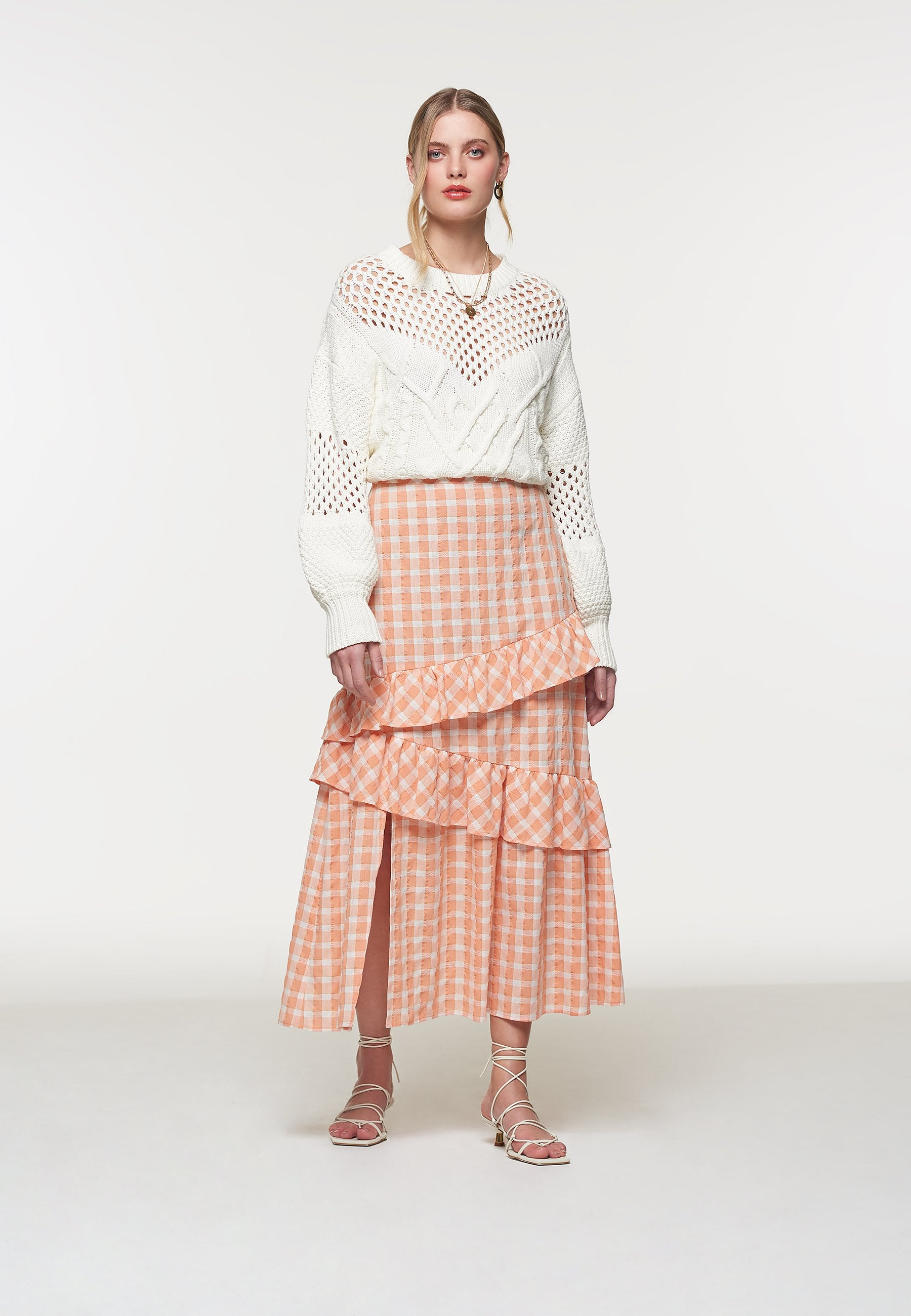 Load image into Gallery viewer, Palones Apricot Gingham Ruffle Midi Skirt