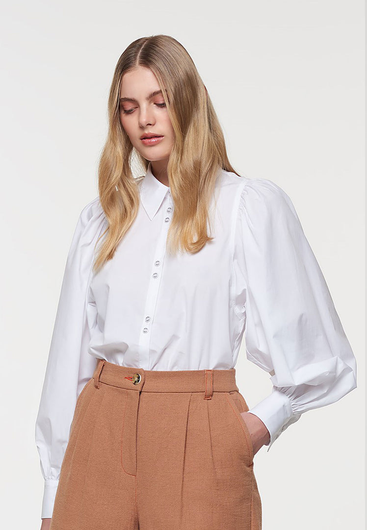 Poplin Puff Sleeve Shirt